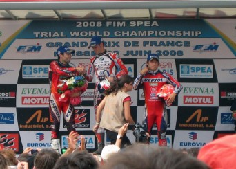 Le podium du GP de France : Raga, Bou, Fujinami