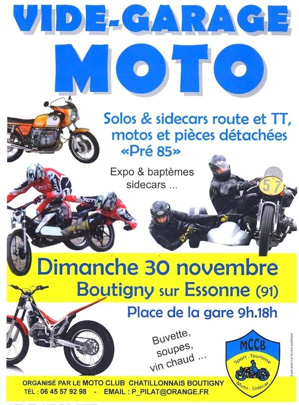 vide garage moto le 30 novembre en ile de france trial